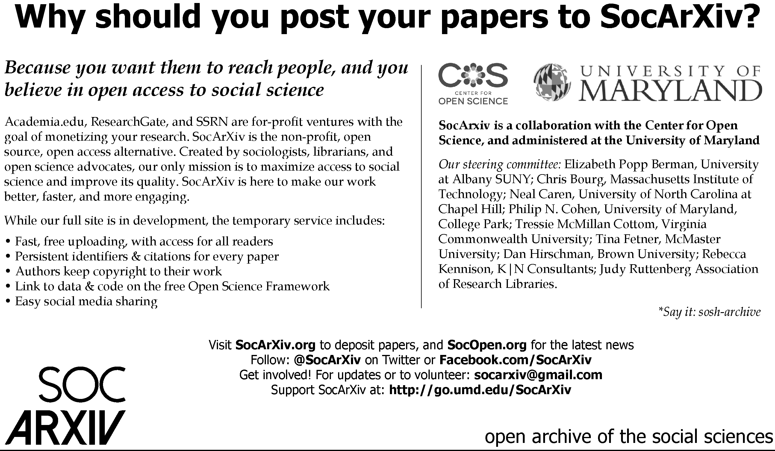 information flyer for SocArxiv, the open archive of the social sciences